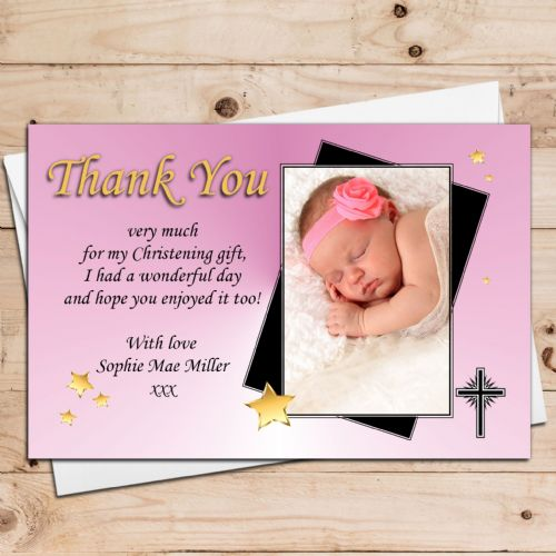 10 Personalised Girls Star Christening Baptism Thank you PHOTO Cards N33